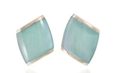 A pair of Vhernier rock crystal and mother-of-pearl ear