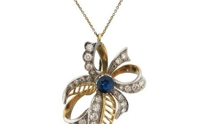 A sapphire and diamond foliate pendant, of abstract...