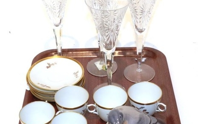 A set of six Royal Copenhagen cups and saucers; together...