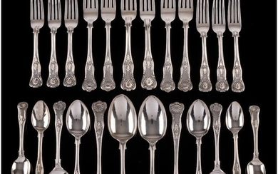 A silver Kings pattern matched part flatware service, variou...