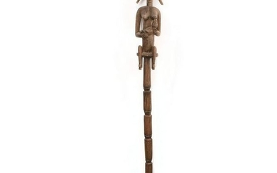 AFRICAN WOODEN WALKING STICK, MOTHER FEEDING BABY