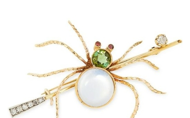 AN ANTIQUE MOONSTONE, PERIDOT, DIAMOND AND GARNET