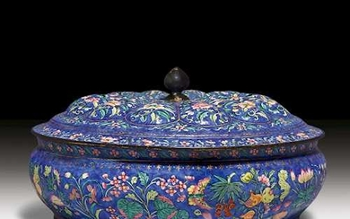 AN EMAIL BOWL WITH BLOSSOM SHAPED COVER.