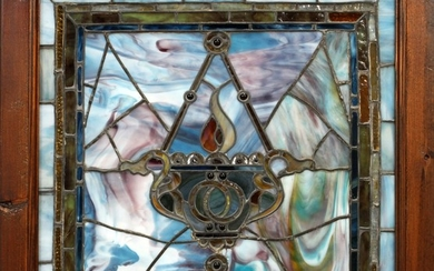 ANTIQUE STAIN GLASS WINDOW 25 25