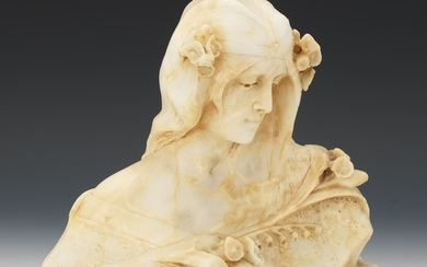 Alabaster Carved Bust of a Beauty