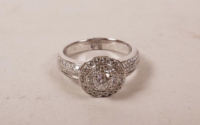 An 9ct white gold, diamond encrusted ring, approximate size ...