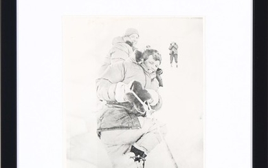 """An original American black-and-white press photograph of Robert """"Bobby"""" Kennedy and Jim Whittaker about to climb Mount Kennedy in Yukon, Canada in March 1965."""