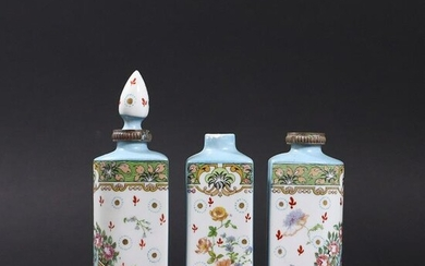 Antique French Porcelain 3 Cologne Bottles Set