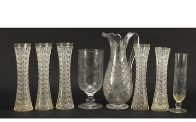 Antique glassware including etched celery vase, five hobnail...