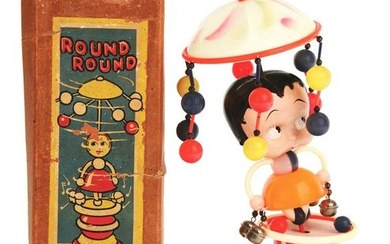 BETTY BOOP CELLULOID WHIRLIGIG WITH ORIGINAL BOX.