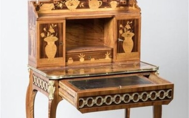 BONHEUR DU JOUR in satin veneer and rosewood inlaid with light wood inlays in a Chinese-inspired framing of floral vases and utensils such as a cup, covered cup, teapot, potpourri, books, inkwell garnished with a quill, letter, bottle