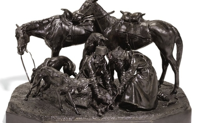 BINDING THE WOLF: A BRONZE FIGURAL GROUP, CAST BY WOERFFEL, ST PETERSBURG, AFTER THE MODEL BY NIKOLAI LIEBERICH (1828-1883), 1884