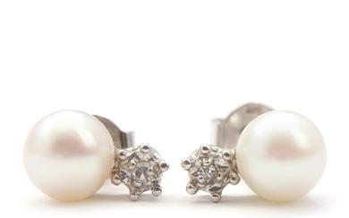 Bræmer-Jensen: A pair of pearl and diamond earrings each set with single-cut diamond and cultured pearl, mounted in 14k white gold. (2)