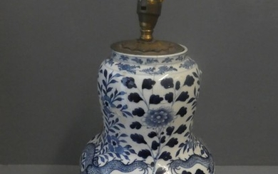 Bulbous blue & white Lamp base decorated with a dragon on fl...