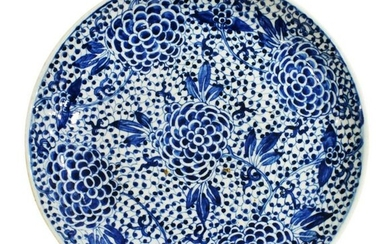 CHINESE BLUE & WHITE PORCELAIN PEONY CHARGER