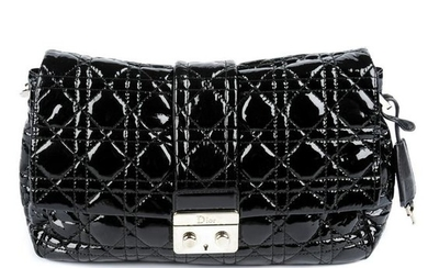 CHRISTIAN DIOR - a black patent leather Cannage