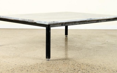 CHROME IRON ITALIAN COFFEE TABLE CIRCA 1980