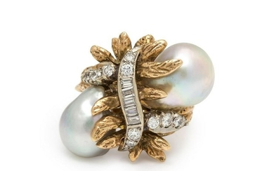 CULTURED BAROQUE PEARL AND DIAMOND RING