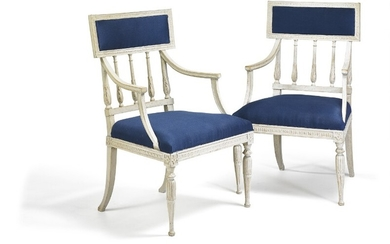 Carl Johan Wadström: A pair of Gustavian painted armchairs. Stamped 'CIWS' and Stockholm hallmark. Late 18th century. (2)