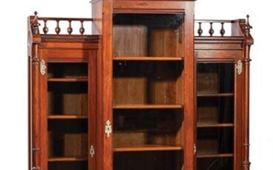Carved Walnut Breakfront Bookcase, Kimbel & Cabus