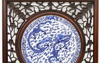 Chinese 19th Cent. Dragon Blue & White Porcelain Plaque