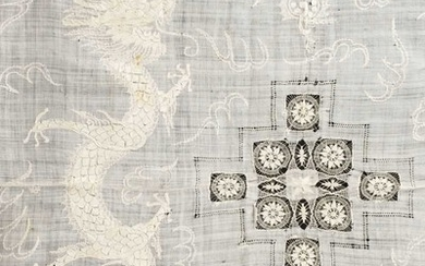 Chinese. A large Chinese dragon tablecloth, late 19th century