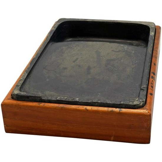 Chinese Antique Ink Stone in Fitted Wood Box