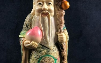 Chinese Art Wise Man Sculpture Large Faux Ivory