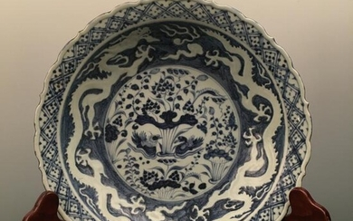 Chinese Blue-White 'Lotus & Dragon' Dish