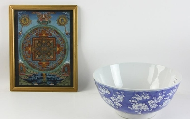 Chinese Blue and White Bowl with Thangka