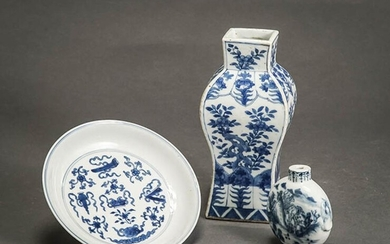 Chinese Blue and White Dish, a Square Vase and a Snuff Bottle 18th-19th Century
