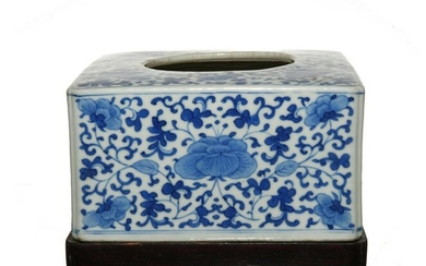 Chinese Blue and White Square Brush Washer, 19th