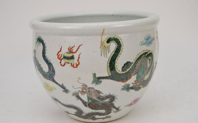 Chinese Export Famille Rose Porcelain Cache Pot.