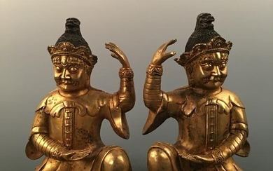 Chinese Gilt Bronze Figure Pair Statue, Yongle Mark