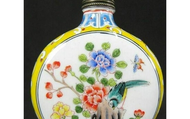Chinese Hand Painted Copper Snuff Bottle tobaccy