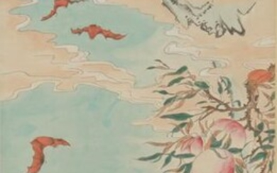 Chinese Painting Of Bats And Longevity Peaches