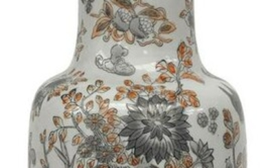 Chinese porcelain vase floral decorations on a white