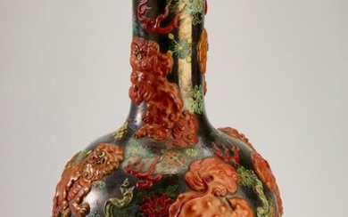 """Chinese vase with high relief Fu lions, 26""""h"""