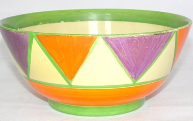 Clarice Cliff Bizarre Newport Art Deco Geometric Pattern Bowl...