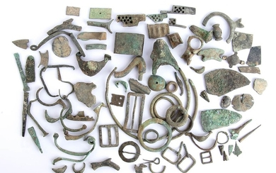 Collection of Roman bronze elements, 1st-4th century AD; length...