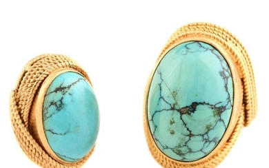 Collection of Two Turquoise, 18k Yellow Gold Jewelry