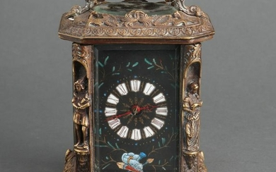 Continental Bronze & Enamel Carriage Style Clock