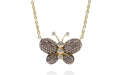 Diamond and 14ct yellow gold butterfly necklace marked 14kt ...