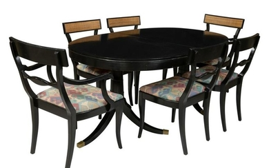 Ebonized and Cane Table and 6 Chairs