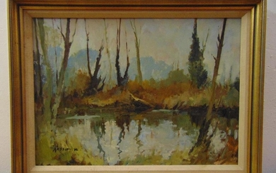 Edward Wesson RI RBA RSMA framed oil on panel titled A Winte...