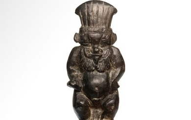 Egyptian Steatite Amulet of Bes Wearing the Feather