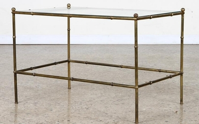FAUX BAMBOO BRONZE & GLASS COFFEE TABLE C. 1960