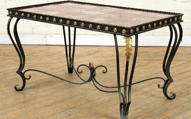 FRENCH IRON COFFEE TABLE TILE TOP C.1940