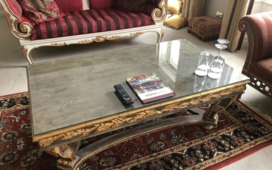 Fine Regency style painted and gilt centre coffee table comp...