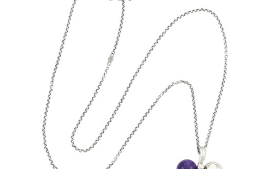 Five Silver, Amethyst and Lapis Lazuli Pendants, Chains, Toggle Chains and Pair of Earrings, Georg Jensen